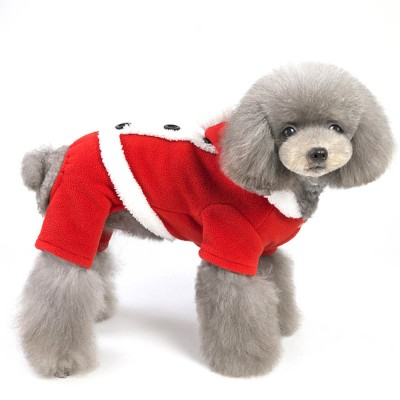 Festive Four-legged Clothes for Dogs Christmas and New Year Dress Skirt Clothes for Teddy Pomeranian Pet Cotton Suit