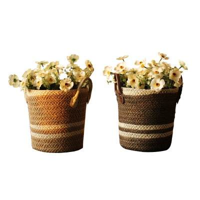 Rattan Plaited Storage Basket for Sundries, Household Storage Bucket 1 Gallon for Decoration Storage Bucket, Gray Pastoral Style