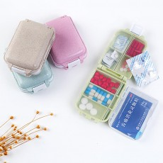 Non-Toxic Degradable 7 Day Weekly Pill Organizer, Large Capacity Wheat Straw Environmentally Friendly Portable Mini Pill Box