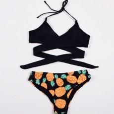 Women's Swimwear V-Neck Sexy Padded Halter Bandage Bikini Two Piece Swimsuits High Waist Bathing Suit