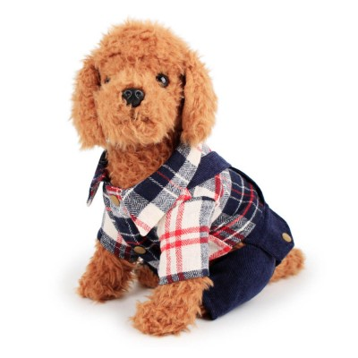 Bib Pants Check Corduroy Suspender Trousers, Casual Style Hawoo Trousers with Braces for Pets Stock Wholesale Pet Clothes