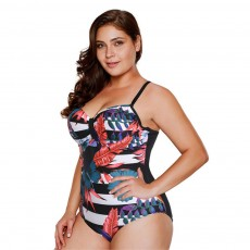 Large Size One-piece Swimming Suit for Women, Digital Printing Flower Patterns One-piece Swimsuits, Top-selling