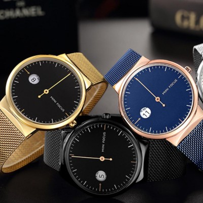 Men's Watch Fashion Calender Quartz Dail Stainless Steel Mesh Band Waterproof Wrist Watch for Gifts