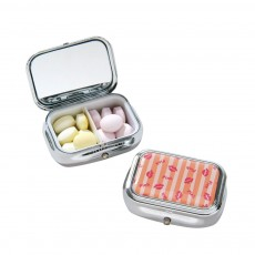 ASB Stainless Steel Pill Box with Two Cells Mirror Small Container for Medicine False Eyelashes Dispenser Portable Case