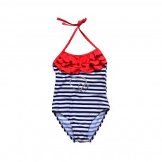 One-piece Swimsuit for Girls, High-quality Nylon Fabric Blue Straps and Red Lace Children's Swimsuit