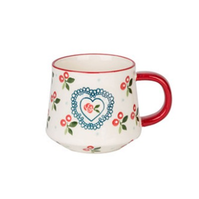 Cute Delicate Elegant Ceramics Mug with Cherry Pattern, Large Capacity Underglaze Household Water Cup