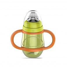 Silicone PP Material Bottle with Handle, Drop-proof Glass Bite-resistance Nipple for 6-18 Month Baby Cup
