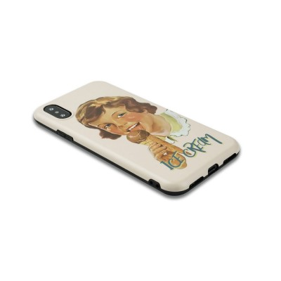 Oil Painting English Letters iPhone XS Case, Cute Boy and Lovely Girl Pattern 7P/8P Phone Cover