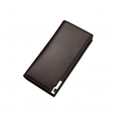 Delicate Package Edge Business Wallet, Men's Long Wallet with PU Leather Polyester Fabric