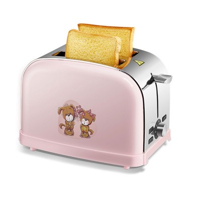 Cute Pink 2 Slice Stainless Steel Toaster, Multiple Functions Automatic Adjustable Browning Control Breakfast Bread Heater