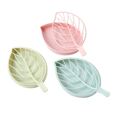 Plastic Soap Box Leaf Shape Shower Soap Holder with Drain Container, Home Bathroom Kitchen Essential Plastic Soap Container