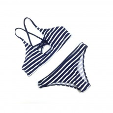 Naval Stripe Separate Sexy Lady's Swimsuit, Western Style Bikini with Polyester and Spandex Fabric