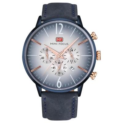 Fashionable Leather Strap Watch for Men Water-proof Round Dial Watch Minimalist Quartz Wrist Watch