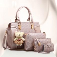 Elegant Women Accessories Ellipse Chain PU Leather Lady Tote Bag Sets 4PCS