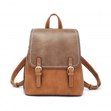 Vintage Casual Magnetic Travel Backpack, Elegant Girl PU Leather Rucksack Shoulder Bag