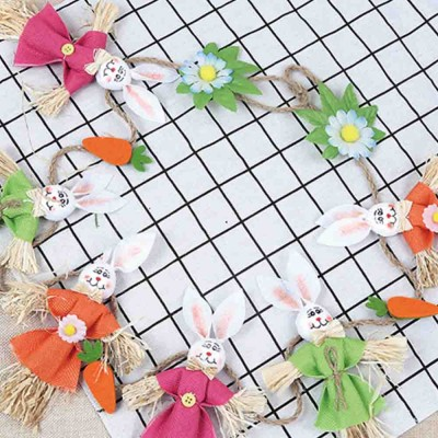 Easter Scarecrow Wreath with 6 Rabbits Design for Kindergarten Children, Creative DIY Handmade Wreath