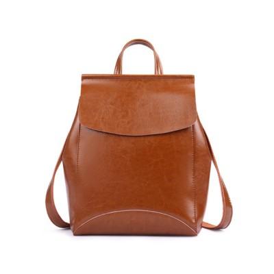 Retro Waxing Double Layer Cowhide Rucksack Shoulder Bag Women Fashion Accessories Elegant Large Capacity Travel Bag