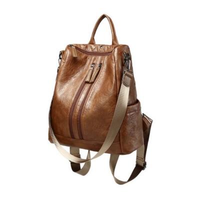 Casual Brown Backpack & Shoulder Bag, Vintage Style Multiple Pockets Large Bag for Travel, School