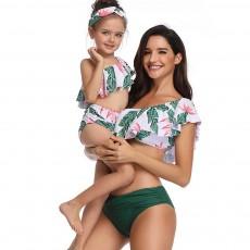 Family Matching Swimsuit Parent-child Polyester Soft Swimwear Pleat Two Piece Swimwear