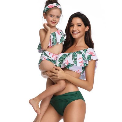 Family Matching Swimsuit Parent-child Polyester Soft Swimwear Pleat Two Piece Swimwear