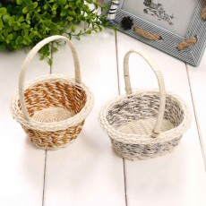 Portable Rattan Weaving Basket for Storage, Wedding as Decoration Tool, Multiple Styles DIY Handmade Flower Arrangement Basket