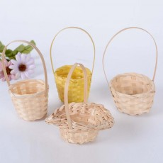Mini Bamboo Woven Rattan Weaving Basket for Storage, Wedding as Decoration Tool and Shoot Decoration, DIY Handmade Flower Arrangement Basket
