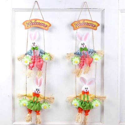 Easter Double Rabbits Scarecrow for Kindergarten Children, Creative DIY Handmade Scarecrow.