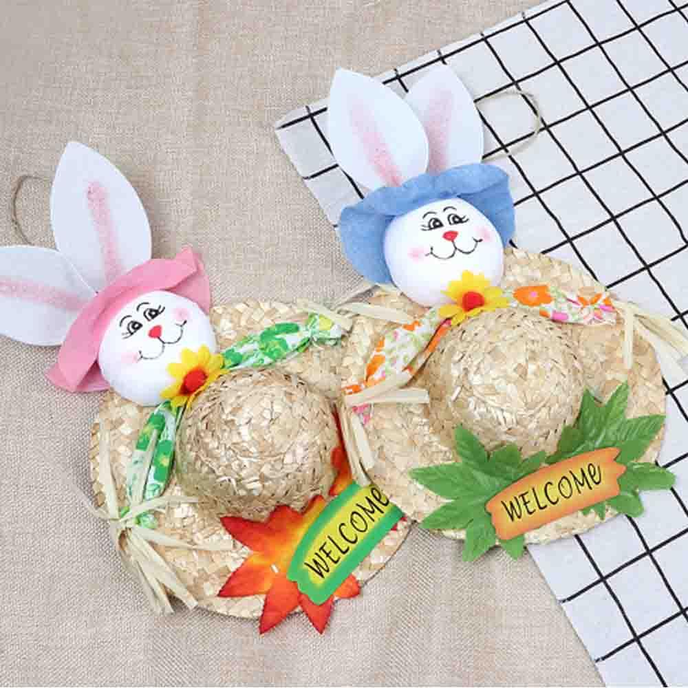 Straw Woven Bunny Hat Rattan Weaving Hat, DIY Handmade Bunny Hats for Easter Day Kids Children