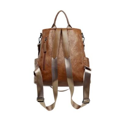 Casual Brown Backpack Shoulder Bag Vintage Style Multiple Pockets Large For Travel School