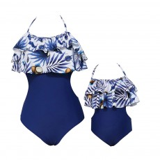 Double Flange Swim Dress Soft One-piece Swimsuit with Strap Off Shoulder Bathing Suit for Mother-girl