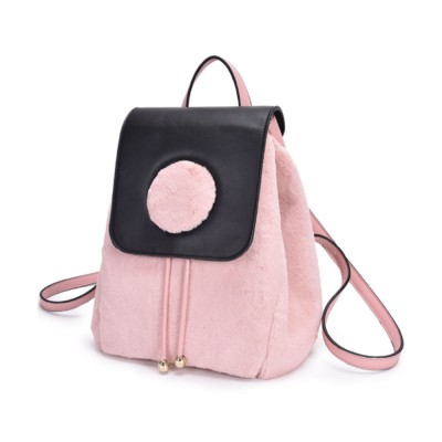 Cute Casual PU Woolen PU Leather Rucksack Shoulder Bag Women Fashion Accessories Elegant Drawstring Travel Backpack