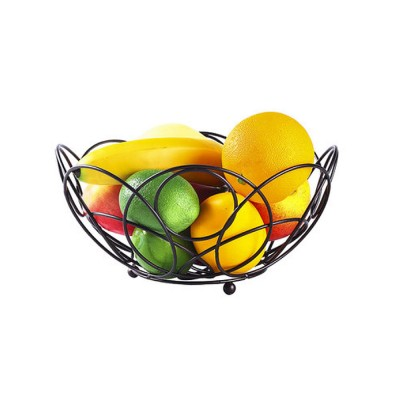 Iron Fruit Basket For Home Store Fruits Tray Line Design Bowl Simple Style Fruit Plate