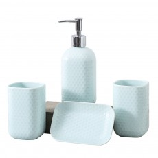 Simple Solid Color Ceramic 4 Pieces Bathroom Accessory Set Creative Fashion Design Tooth Mug Soap tray Lotion Bottle