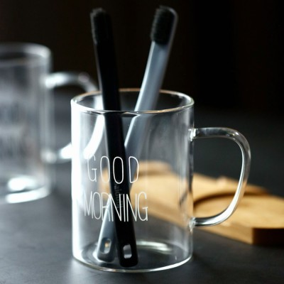 Washing Cup Set Transparent Letter Print Bathroom Washing Glass Cup Toothbrush Holder Cup Couple Mug