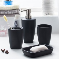 Multi-color Ceramic Bathroom 4 PCS Suits Nordic Minimalist Style Matte Bathroom Supplies Tooth Mug Toothbrush Holder Soap Box Lotion Bottle