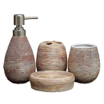 4 Pieces Ceramic Toilet Bathroom Supplies Sets Modern European Creative Stripe Tooth Mug Toothbrush Holder Soap Box Lotion Bottle