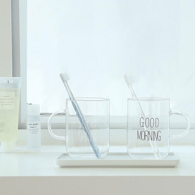 Glass Toothbrush Holder Bathroom Transparent Large Capacity Cup Korean Washing Cup Ins Treads Fashion Mug For Adult