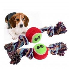 Pet Dog Double Rope Knot Ball Cotton Rope for Dogs, Cats,  Teeth Grinding Bite-Resistant Pet Ropet Toy
