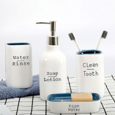 Ceramic Bathroom 4 Pieces Suits Nordic Minimalist Style Creative Bathroom Supplies Tooth Mug Toothbrush Holder Soap Box Lotion Bottle