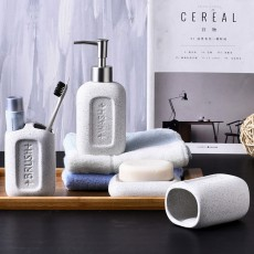 Creative European Ceramic Bathroom Supplies 4 pieces Set Concave Letter Printed Sanitary Ware