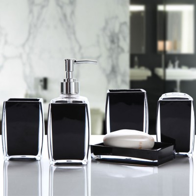 Creative Modern Acrylic Mirror Style 5 Pieces Bathroom Supplies Set Accessories Tooth Mug Toothbrush Holder Soap Tray Lotion Bottle