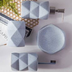 Nordic Style 4 pieces Ceramic Bathroom Accessories Set, Tooth Mug Toothbrush Holder Soap Tray Lotion Bottle