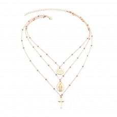 Layered Goddess Cross Necklace Retro Pendant Neck Chain for Wedding Party Jewelry