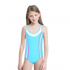 Kids Girls One-piece Swimsuit Cotton Sun Protection Skin-friendly Blue Pink Swimming Suit