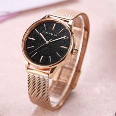 Japanese Women's Minimalist Ultra Thin Watch, Analog Quartz Stainless Steel Mesh Watch