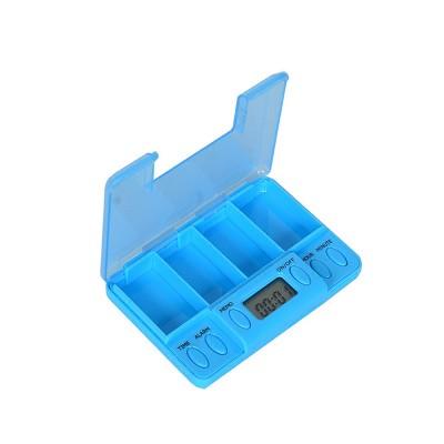 Electronic Pill Dispenser Timer Alarm Pill Box Organizer 4 Compartments Medicine Box