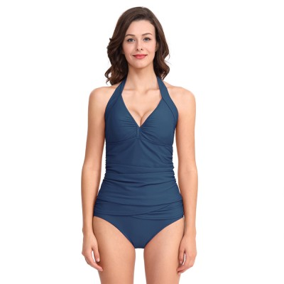 44fd2f7f924 2019 New Two-Piece Swimsuit with Halter Design Solid Color Sexy Bikini with  Fold Design Beach for Women Lady