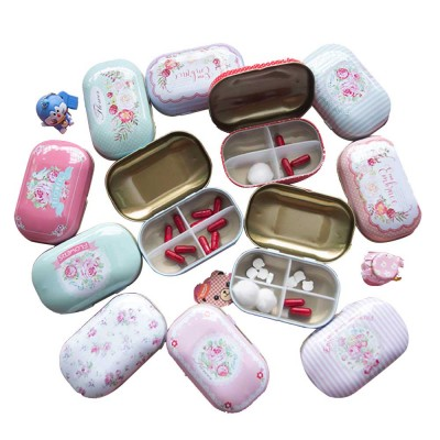 Mini Cute Candy Color Pill Box Diverse Patterns Iron Pill Case Four Compartments for Pill Vitamin