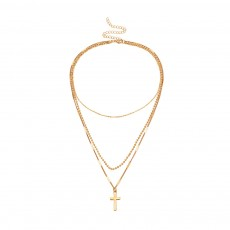 Cross Pendant Necklace Alloy Gold Silver Plated Chain Pendant Layered Necklace for Women