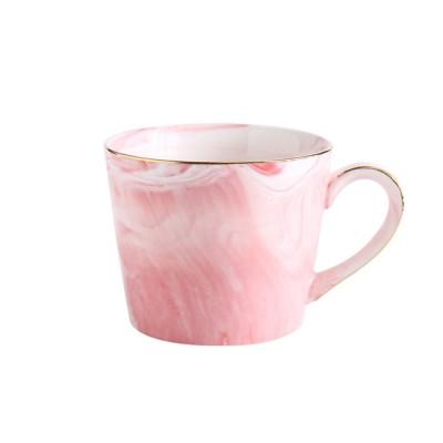 Nordic Style Colorful Ceramic Mug, Marble Grain Ceramic Mug with Lid and Handle Ember Black Coffee Cups